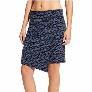 Athleta Faux Wrap Seaside Stretch Knit Skirt Blue